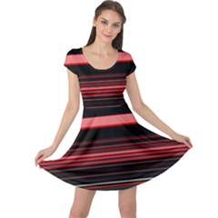 Abstract Of Red Horizontal Lines Cap Sleeve Dresses