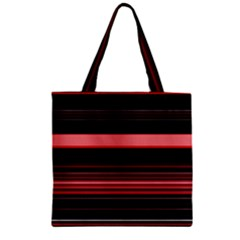 Abstract Of Red Horizontal Lines Zipper Grocery Tote Bag