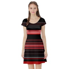 Abstract Of Red Horizontal Lines Short Sleeve Skater Dress