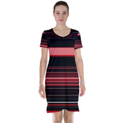 Abstract Of Red Horizontal Lines Short Sleeve Nightdress