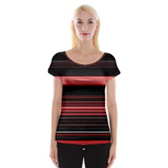 Abstract Of Red Horizontal Lines Women s Cap Sleeve Top