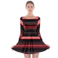 Abstract Of Red Horizontal Lines Long Sleeve Skater Dress