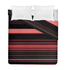 Abstract Of Red Horizontal Lines Duvet Cover Double Side (full/ Double Size)