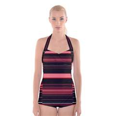 Abstract Of Red Horizontal Lines Boyleg Halter Swimsuit