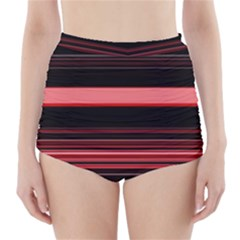 Abstract Of Red Horizontal Lines High-Waisted Bikini Bottoms