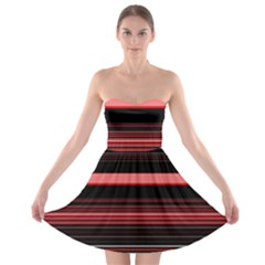 Abstract Of Red Horizontal Lines Strapless Bra Top Dress