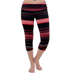 Abstract Of Red Horizontal Lines Capri Yoga Leggings