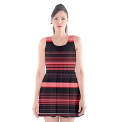 Abstract Of Red Horizontal Lines Scoop Neck Skater Dress