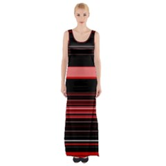 Abstract Of Red Horizontal Lines Maxi Thigh Split Dress