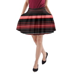 Abstract Of Red Horizontal Lines A-Line Pocket Skirt