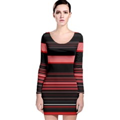 Abstract Of Red Horizontal Lines Long Sleeve Velvet Bodycon Dress