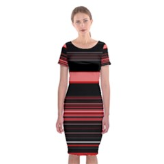 Abstract Of Red Horizontal Lines Classic Short Sleeve Midi Dress