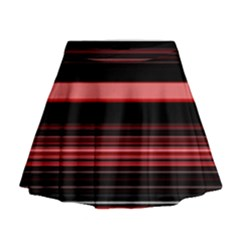 Abstract Of Red Horizontal Lines Mini Flare Skirt