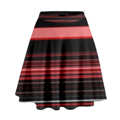 Abstract Of Red Horizontal Lines High Waist Skirt