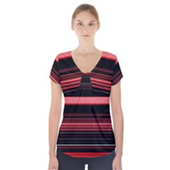 Abstract Of Red Horizontal Lines Short Sleeve Front Detail Top