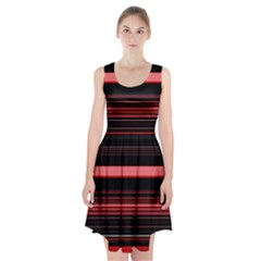 Abstract Of Red Horizontal Lines Racerback Midi Dress