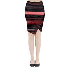 Abstract Of Red Horizontal Lines Midi Wrap Pencil Skirt