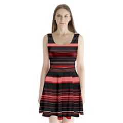 Abstract Of Red Horizontal Lines Split Back Mini Dress