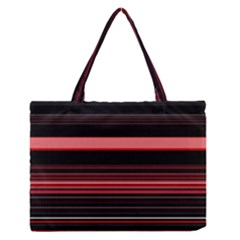 Abstract Of Red Horizontal Lines Medium Zipper Tote Bag