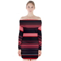 Abstract Of Red Horizontal Lines Long Sleeve Off Shoulder Dress