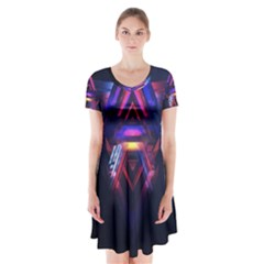 Abstract Desktop Backgrounds Short Sleeve V-neck Flare Dress