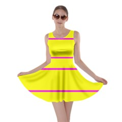 Background Image Horizontal Lines And Stripes Seamless Tileable Magenta Yellow Skater Dress