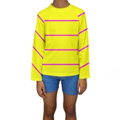 Background Image Horizontal Lines And Stripes Seamless Tileable Magenta Yellow Kids  Long Sleeve Swimwear