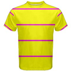 Background Image Horizontal Lines And Stripes Seamless Tileable Magenta Yellow Men s Cotton Tee