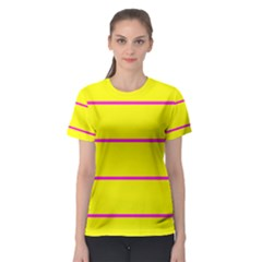 Background Image Horizontal Lines And Stripes Seamless Tileable Magenta Yellow Women s Sport Mesh Tee