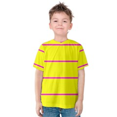 Background Image Horizontal Lines And Stripes Seamless Tileable Magenta Yellow Kids  Cotton Tee