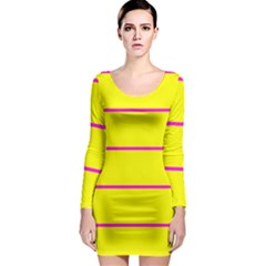 Background Image Horizontal Lines And Stripes Seamless Tileable Magenta Yellow Long Sleeve Bodycon Dress