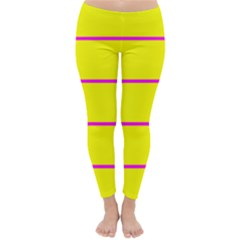 Background Image Horizontal Lines And Stripes Seamless Tileable Magenta Yellow Classic Winter Leggings