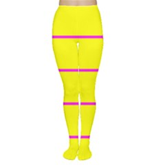 Background Image Horizontal Lines And Stripes Seamless Tileable Magenta Yellow Women s Tights