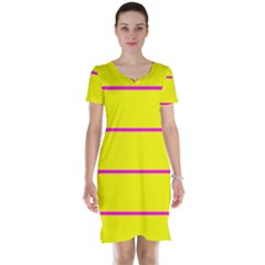 Background Image Horizontal Lines And Stripes Seamless Tileable Magenta Yellow Short Sleeve Nightdress