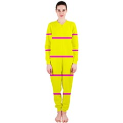 Background Image Horizontal Lines And Stripes Seamless Tileable Magenta Yellow Onepiece Jumpsuit (ladies)