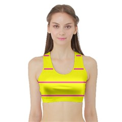Background Image Horizontal Lines And Stripes Seamless Tileable Magenta Yellow Sports Bra With Border