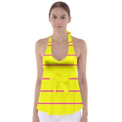 Background Image Horizontal Lines And Stripes Seamless Tileable Magenta Yellow Babydoll Tankini Top