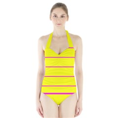 Background Image Horizontal Lines And Stripes Seamless Tileable Magenta Yellow Halter Swimsuit