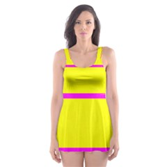 Background Image Horizontal Lines And Stripes Seamless Tileable Magenta Yellow Skater Dress Swimsuit