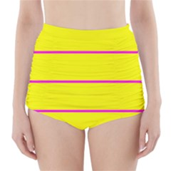 Background Image Horizontal Lines And Stripes Seamless Tileable Magenta Yellow High Waisted Bikini Bottoms