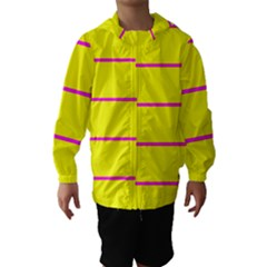 Background Image Horizontal Lines And Stripes Seamless Tileable Magenta Yellow Hooded Wind Breaker (kids)