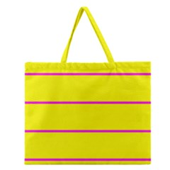 Background Image Horizontal Lines And Stripes Seamless Tileable Magenta Yellow Zipper Large Tote Bag