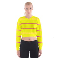 Background Image Horizontal Lines And Stripes Seamless Tileable Magenta Yellow Women s Cropped Sweatshirt