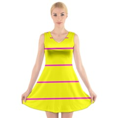 Background Image Horizontal Lines And Stripes Seamless Tileable Magenta Yellow V Neck Sleeveless Skater Dress