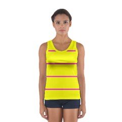 Background Image Horizontal Lines And Stripes Seamless Tileable Magenta Yellow Women s Sport Tank Top