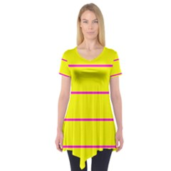 Background Image Horizontal Lines And Stripes Seamless Tileable Magenta Yellow Short Sleeve Tunic