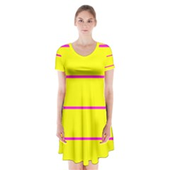 Background Image Horizontal Lines And Stripes Seamless Tileable Magenta Yellow Short Sleeve V Neck Flare Dress