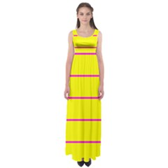 Background Image Horizontal Lines And Stripes Seamless Tileable Magenta Yellow Empire Waist Maxi Dress