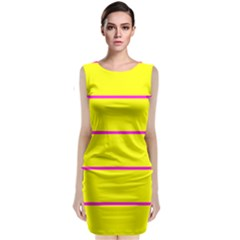 Background Image Horizontal Lines And Stripes Seamless Tileable Magenta Yellow Classic Sleeveless Midi Dress
