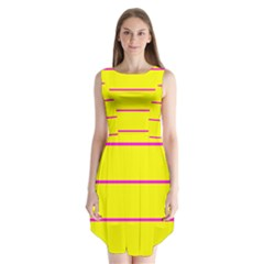 Background Image Horizontal Lines And Stripes Seamless Tileable Magenta Yellow Sleeveless Chiffon Dress